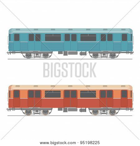 Decorative underground rapid train vector design element Retro colored design urban transport item s
