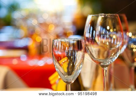 Empty Wine Glasses, Closeup