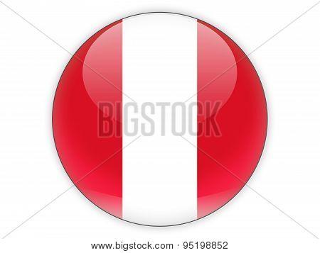 Round Icon With Flag Of Peru