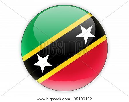 Round Icon With Flag Of Saint Kitts And Nevis