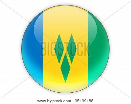 Round Icon With Flag Of Saint Vincent And The Grenadines