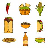 pic of nachos  - Set of cute cartoon hand drawn icons on mexican food theme - JPG