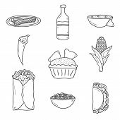 foto of nachos  - Set of cute cartoon hand drawn outline icons on mexican food theme - JPG