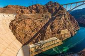 foto of dam  - Hoover Dam Bypass Bridge and Scenic Colorado River Canyon - JPG