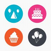 picture of birthday hat  - Circle buttons - JPG