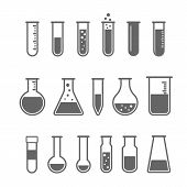 pic of experiments  - Chemical test tube pictogram icons set - JPG