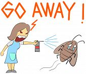 stock photo of cockroach  - illustration cartoon rage housewife yelling at cockroach - JPG