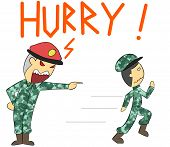 foto of yell  - illustration cartoon boss rage yelling at new soldier - JPG