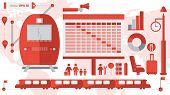 foto of flags world  - Set of Train station infographic with train - JPG