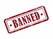 stock photo of taboo  - stamp banned in red over white background - JPG