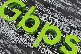 image of billion  - Fibre Broadband 1Gbps Concept 3D Illustration - JPG