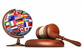 picture of human-rights  - International law systems justice human rights and global business education concept with world flags on a school globe and a gavel on a desk isolated on white background - JPG
