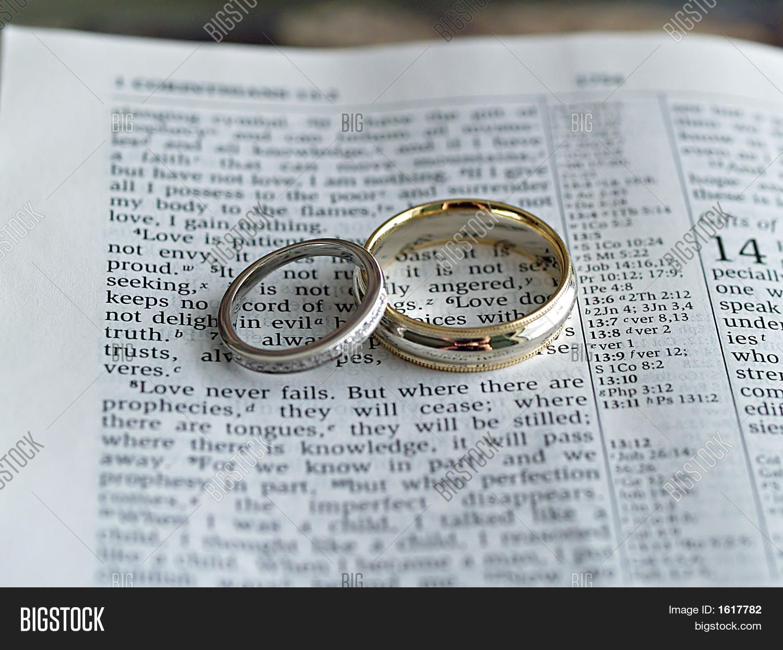 wedding rings on bible image photo bigstock