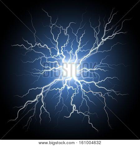 Thunder storm flash light on black background. Vector realistic electricity lightnings. Illustration of nerve connection