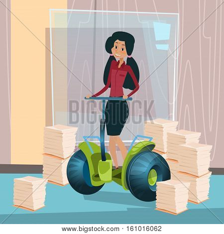 Mix Race Business Woman Ride Electric Scooter Modern Transport Office Interior Paperwork Flat Vector Illustration