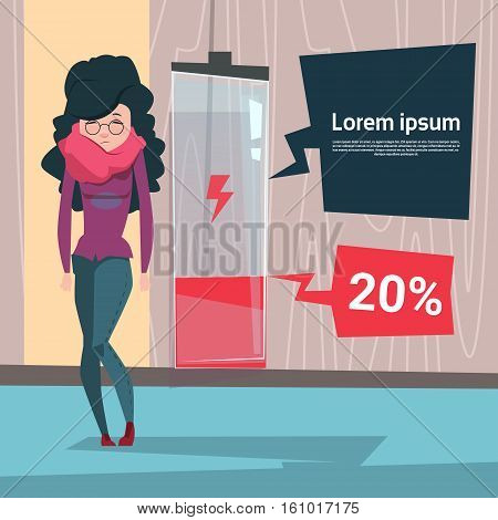Tired Business Woman Low Battery Charge Overworked Flat Vector Illustration