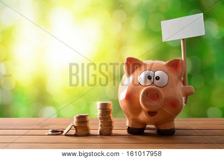 Piggy Bank With Blank Billboard On Table And Nature Background