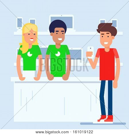 The mobile phone store with customer and sales managers discussing the latest smart phone model. Both standing near the modern cash desk. Vector flat illustration perfect for gadget stores retail concept.