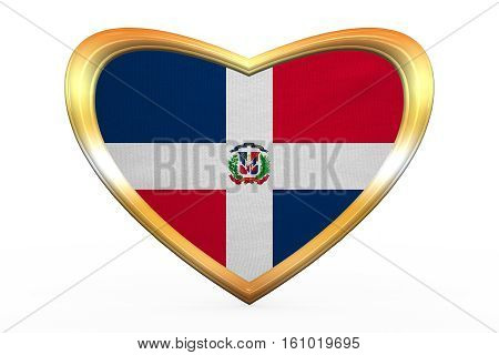 Dominican Republic Flag, Heart Shape, Golden Frame