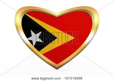 Flag Of East Timor In Heart Shape, Golden Frame