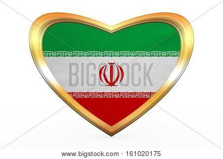Flag Of Iran In Heart Shape, Golden Frame