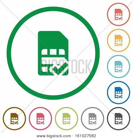 SIM card accepted flat color icons in round outlines