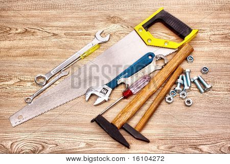 Tools on wooden surface