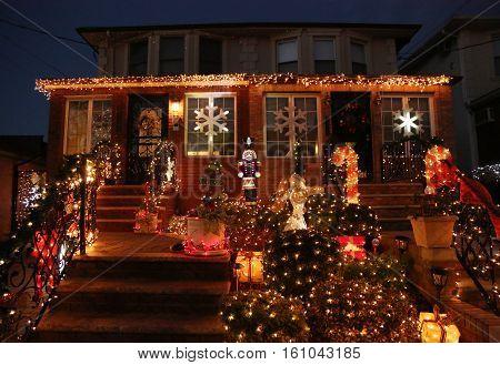 BROOKLYN, NEW YORK - DECEMBER 8, 2016: Christmas house decoration lights display in the suburban Brooklyn neighborhood of Dyker Heights