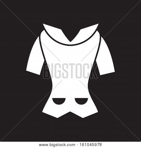 Flat icon in black and  white  women cardigan