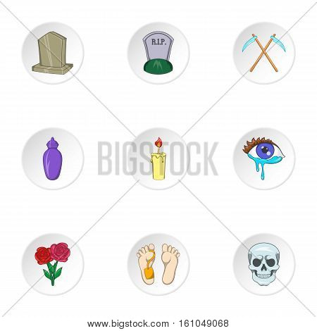 Death of person icons set. Cartoon illustration of 9 death of person vector icons for web