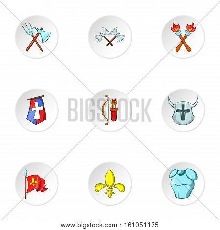 Medieval armor icons set. Cartoon illustration of 9 medieval armor vector icons for web