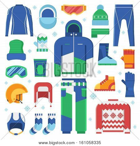 Snowboard jacket, helmet, ski goggles. Skiing and snowboarding winter sportswear and warm dress. Snow activities and sports clothing set in flat.