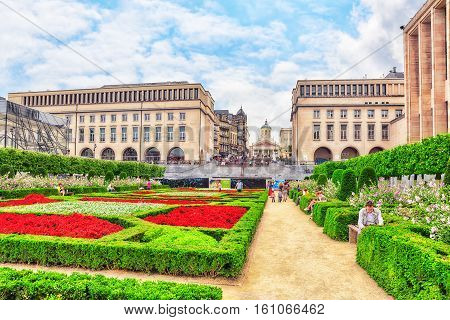 Brussels, Belgium - July 07, 2016 : Tourists Near  Kunstberg Or Mont Des Arts (mount Of The Arts) Wi