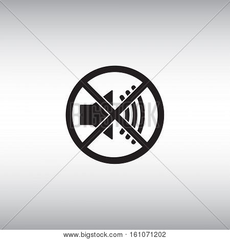 Isolated mute vector icon. Mute button flat sign. Sound off vector pictogram. Soundless mode vector symbol. Volume turn off menu icon.