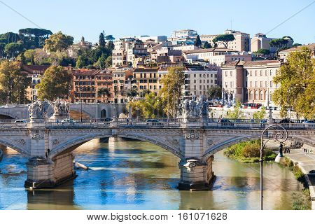 Rome City Skyline With Tiber River And Bridge
