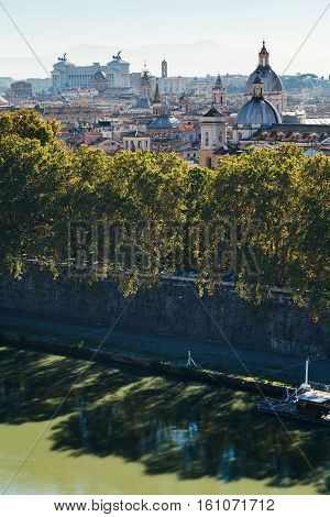 River And Rome Town In Side Of Capitoline Hill