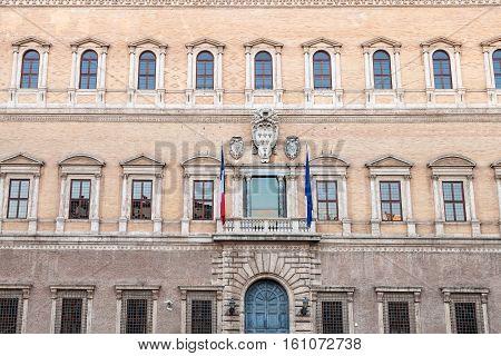 Facade Of Palazzo Farnese In Rome