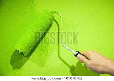 Painting with flashy green color - detail