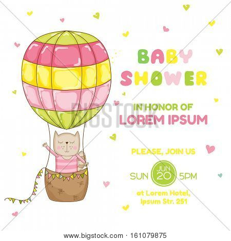 Baby Girl Cat with a Balloon - Baby Shower or Arrival Card - in vector