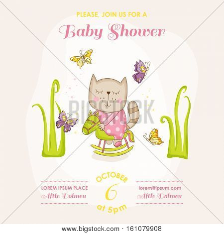Baby Girl Cat on a Horse - Baby Shower or Arrival Card - in vector