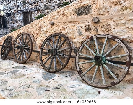 wheels; old wagon wheels.nostalgia old materials .