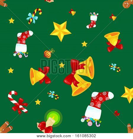 Christmass seamless pattern with gingerbread man cookies, jingle bells bow stocking gifts, xmas background decoration elements