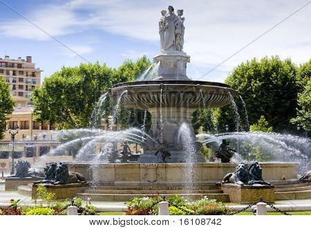 fountain at La Rotonde, Aix-en-Provence, Provence, France