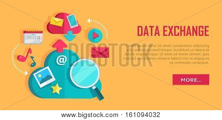 Data exchange banner. Networking communication and data icons on yellow background. Data protection, global storage and online cloud storage, media content, online communication, cloud computing.