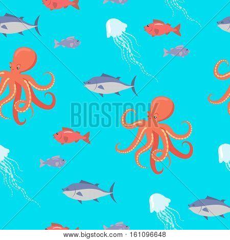 Sea life seamless pattern. Shark, fish, octopus, jellyfish endless texture. Wallpaper design with sea cartoon creatures in flat style design. Sea life animals on blue background. Vector illustration