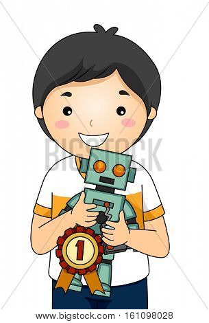 Illustration of a Happy Little Boy Proudly Showing the Robotic Invention That Got Him the First Prize