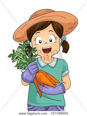 Illustration of a Little Girl in a Straw Hat Proudly Showing the Carrots She Harvested