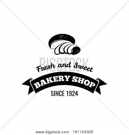 Bread. Baker Badge. Bakery Label. Decorated With Filigree Curls, Curls Vector Illustration