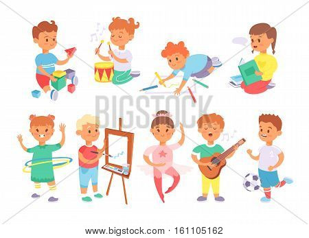 Children playing different types of park and home games. Little kids play summer outdoor active leisure. Vector set of young people group friends childhood activity.