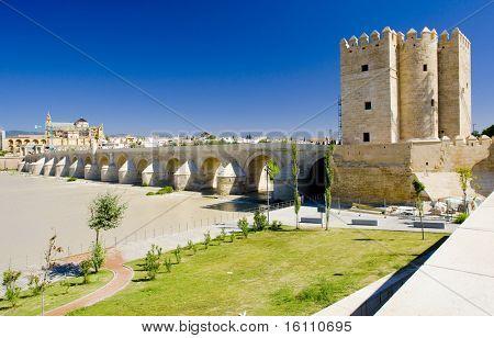 Römische Brücke mit Calahorra Turm, Cordoba, Andalusien, Spanien